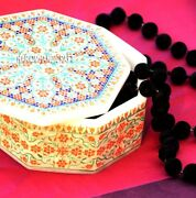 5'' Marble Trinket Custom Gifts Inlaid Storage Box And Free Candle Holder Lamp Art