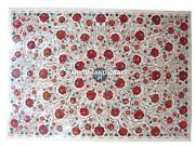 Marble Dining Table Top Carnelian Floral Design Inlay And Free Trinket Jewelry Box