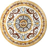 Round Marble Mosaic Dining Unique Inlaid Top Table Collectible Kitchen Rare Gift