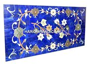 Marble Dining Corner Table Top Floral Lapis Lazuli Gem Marquetry Inlay Art H2040