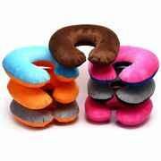 U Shape Pillow Inflatable Soft Air Cushion Neck Support Travel Office Accessory