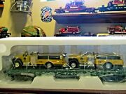Mth Fire Department New York Central Flat Car W/ Two Yellow Die-cast Fire Trucks