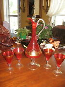 24 Vintage Decanter Bohemia Glass +4 Glass Red /gold C