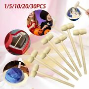 1-30x Mini Wooden Hammer Mallets Tool Carving Hammer Baby Flat Head Toy Diy