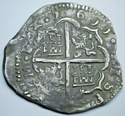 1611 Spanish Silver 4 Reales Antique 1600and039s Rare Dated Colonial Pirate Cob Coin