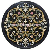 Marble Top Dining Table Semi Precious Inlaid Marquetry Work Mosaic Decor H1414