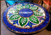 Marble Lapis Stone Traditional Side Dinette Table Inlay Mosaic Patio Decor H3460