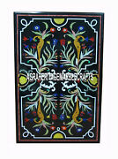 Black Marble Dining Table Mosaic Marquetry Gems Inlay Arts Outdoor Decor H3217