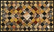 4and039x2and039 Black Marble Occasional Table Top Multi Marquetry Inlay Garden Decor H5079
