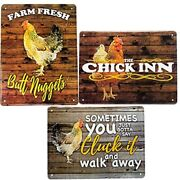 Chicken Coop Signs 3pack, 8x12 Aluminum Tin Supplies Accessories For Coops Coop