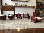 Vintage Wooden Doll House Furniture Bed Table Chairs