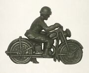 Vintage Green Plastic Army Man Riding Motorcycle For Toy Playset