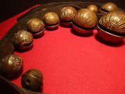 Brass Amish Sleigh Bells On Leather Harness Strap Huge Bells