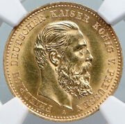 1888 A Prussia Germany King Friedrich Iii Antique Gold 10 Mark Coin Ngc I89086