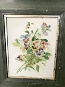 Antique French Country Pansy Painting Floral Oil On Milk Glass Vintage Frame Art