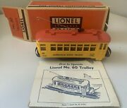 Lionel No. 60 Lionelville Rapid Transit Trolley W/original Box And Instructions