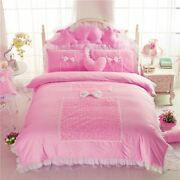 Perfume Rose Design Bedding Set Cotton Lace Fabric King Queen Twin Size Skirt
