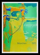 Original Vintage Olympic Game Poster - Archery In Munich - 1972