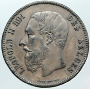 1869 Belgium With King Leopold Ii And Lion Antique Silver 5 Francs Coin I88795
