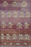 Antique Distressed Authentic Oushak Area Rug Vegetable Dye Hand-knotted Wool 4x6