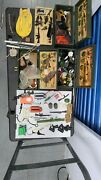 Vintage 60and039s Gi Joe Footlocker Wooden Box 3 And Military Accessories Hundred +
