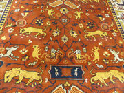 9and039x12and039 Rust Dense Hand Knotted Wool Oriental Super Tabrizz Hunting Area Rug