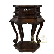 Antique Chinese Carved Rosewood Pedestal Table/plant Stand