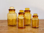 Set Of 4 Vintage Amber Glass Apothecary Jars | Kitchen Canisters With Lids