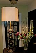 Beautiful Classic Mid Century Heavy Brass Stiffel Lamp With 2 Sockets And Shade