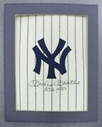 Mickey Mantle Autographed Pinstripes Linen Jersey Panel Yankees Emblem 14x12
