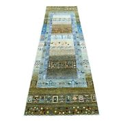 2and0398x9and0398 Green Hand-knotted Kashkuli Gabbeh Primitive Runner Rug R56620
