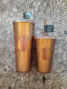 In Hand Starbucks 50th Anniversary 16oz And 24oz Set Studded Tumbler Gold/copper