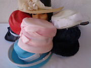 Lot Of 8 Vintage Women's Hats 1950s - 1980s Faux Straw Wide Brim Spring Summer