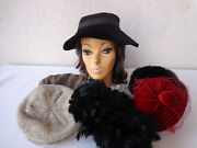 Lot Of 6 Vintage Womenand039s Hats 1940s - 1970s Feathers Velvet Faux Fur Newsboy