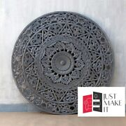 Made To Order Dynasty Hand Craved Indian Solid Wood Bed Headboards Grey Panel