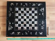 Vintage Asian Stunning Big 25 Inch Mother Of Pearl Wood Backgammon And Chess Board