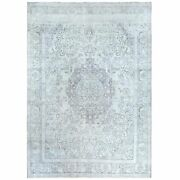 9and0397x12and0395 Old Milk Wash Farsian Tebraz Sheared Down Handknotted Wool Rug R60470