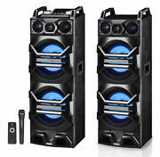 Pair Technical Pro Dual 10 Powered 3000w Bluetooth Speakers W/usb/sd/led+mic
