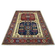 5'7x7'9 Red Afghan Rsari Elephant Feet Natural Wool Hand Knotted Rug R56911