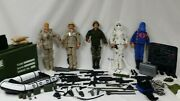 """Vintage Gi Joe 12"""" Action Figures5 And Weapons And Locker Full Of Accessories"""