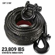 Synthetic Winch Rope 3/8 X 100and039 - 23809 Ibs Winch Line Cable Rope With Protect