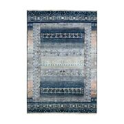 6and0391x9and039navy Blue Kashkuli Gabbeh Tribal Design Pure Wool Hand-knotted Rug R67049