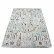 4'2x6 Hand Knotted Ivory Angora Oushak With Willow Tree Wool Rug R67076