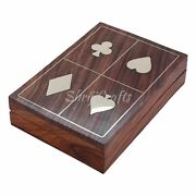 Wooden Boxes For Storage Playing Card Holder Artisan Crafted Case For 2 Desk
