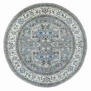 10and039x10and039 Afghan Peshawar With Heriz Design Hand Knotted Round Rug R67167