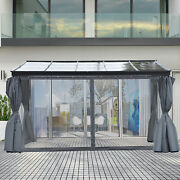 Backyard Patio/porch Outside Cabana W/ Durable Aluminum Roof And Netted Curtain
