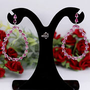 Natural Pink Unheated Tourmaline Long Earrins 925 Sterling Silver