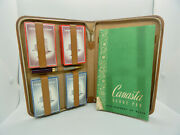 Vintage 1940's Canasta Card Game Set In Leather Case  3-1940's Tax Stamps