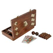 Wooden Playing Card Holder Storage Case Organizer With Dominoes And Dice Set