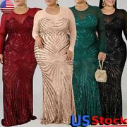 Plus Size Women Sequin Long Sleeve Bodycon Long Dress Ladies Evening Party Gown